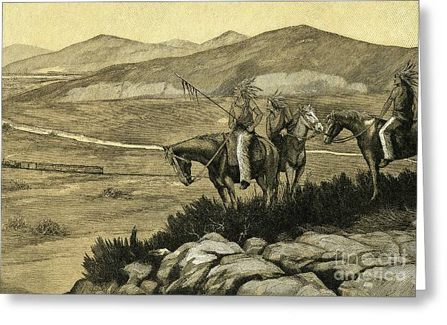 Native Americans Watching A Locomotive Traverse The American West Greeting Card by American School