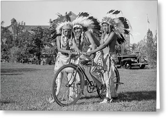 Native Americans With Bicycle Greeting Card