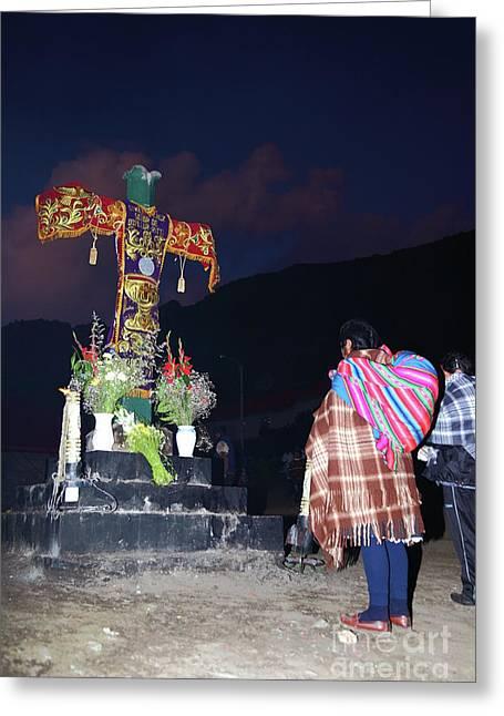 Native Devotion To The Lord Of Qoyllur Riti Peru Greeting Card by James Brunker