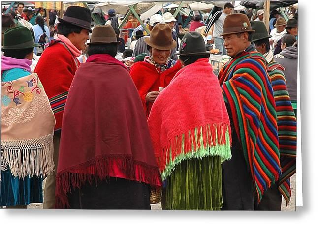 Native Ecuadorians At Market Greeting Card by Alan Lenk
