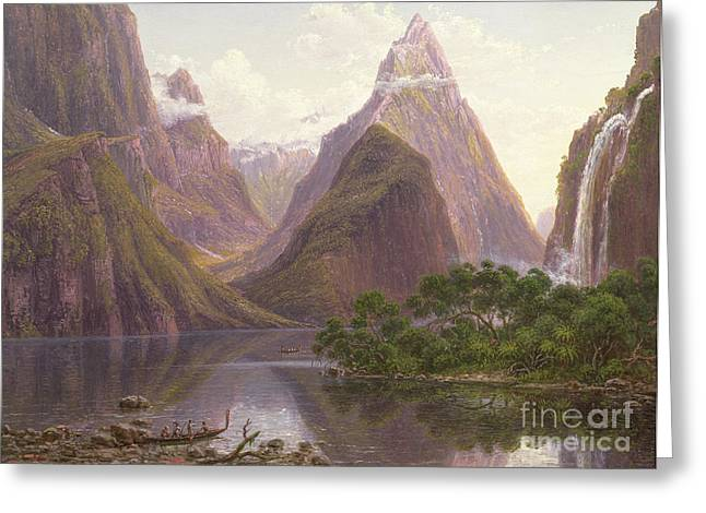 Native Figures In A Canoe At Milford Sound Greeting Card by Eugen von Guerard