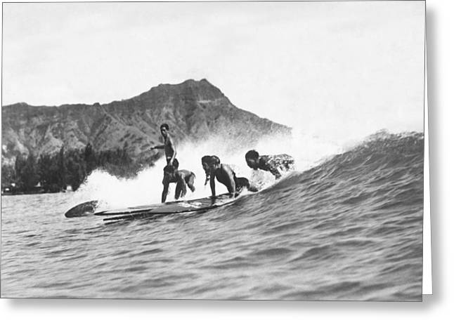 Native Hawaiians Surfing Greeting Card