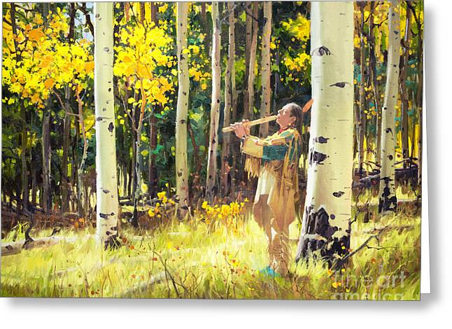 Native Sound In The Forest Greeting Card by Gary Kim
