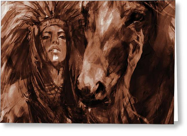 Native Woman With Horse Greeting Card by Gull G