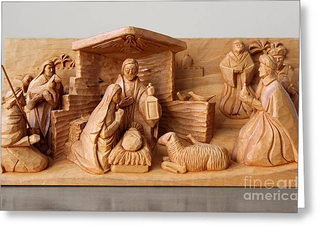 A Christmas Creche By George Wood Greeting Card