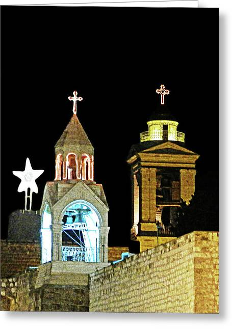 Nativity Church Lights Greeting Card