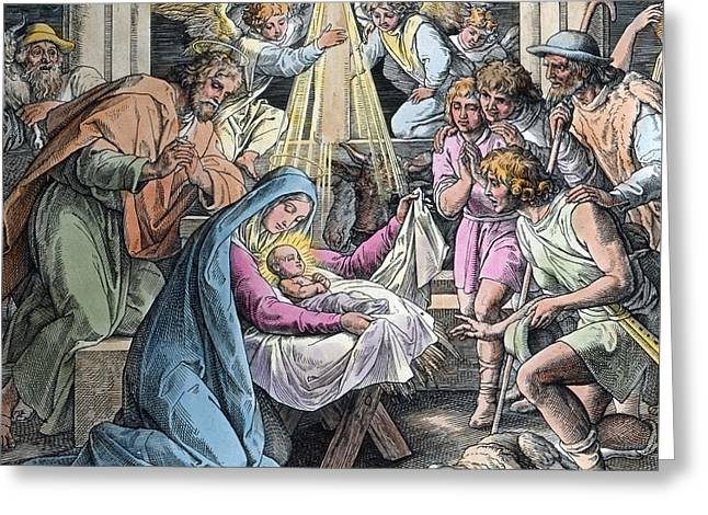 Nativity Greeting Card by Gustave Dore