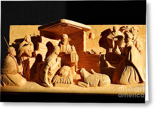 Nativity In Shadow By George Wood Greeting Card