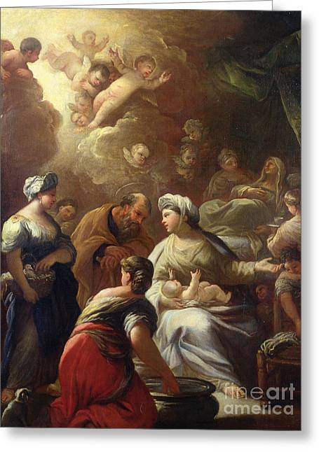 Nativity Greeting Card by Luca Giordano