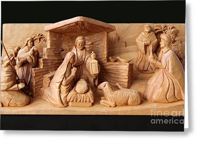 Christmas Creche On Black By George Wood Greeting Card