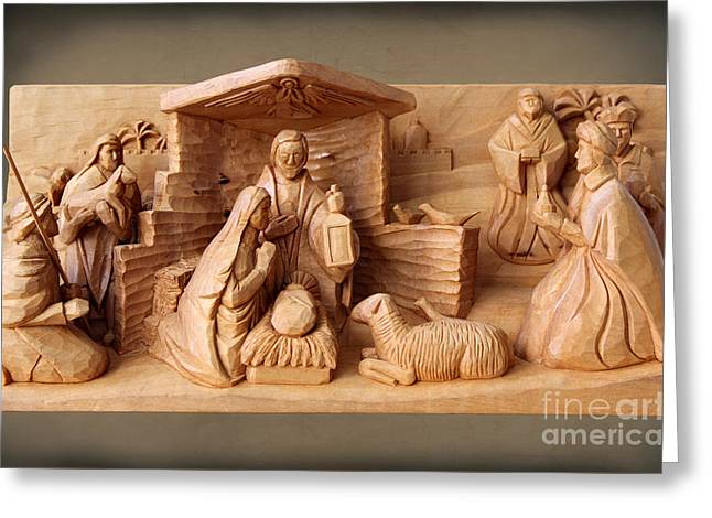 Nativity On Brown Paper By George Wood Greeting Card