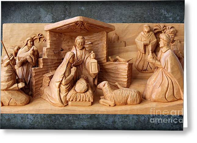 Nativity On Patina By George Wood Greeting Card