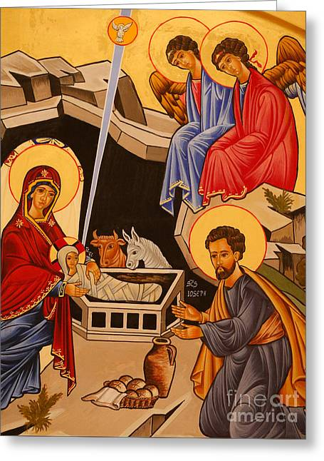 Nativity Scene Greeting Card by Italian School