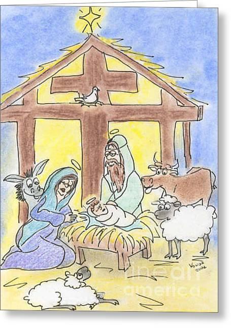 Nativity Greeting Card by Vonda Lawson-Rosa
