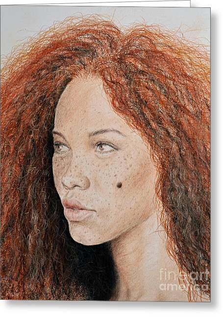 Natural Beauty With Red Hair  Greeting Card by Jim Fitzpatrick