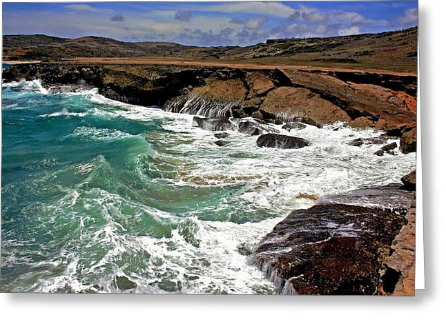 Greeting Card featuring the photograph Natural Bridge Aruba by Suzanne Stout