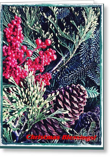 Natural Christmas 3 Card 2 Greeting Card by Sarah Loft