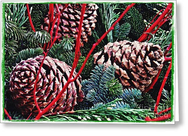 Natural Christmas 4 Card 1 Greeting Card by Sarah Loft