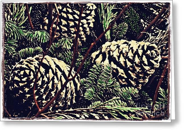 Natural Christmas 4 Card 3 Greeting Card by Sarah Loft