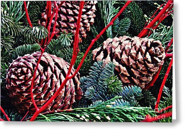 Natural Christmas 4 Greeting Card by Sarah Loft