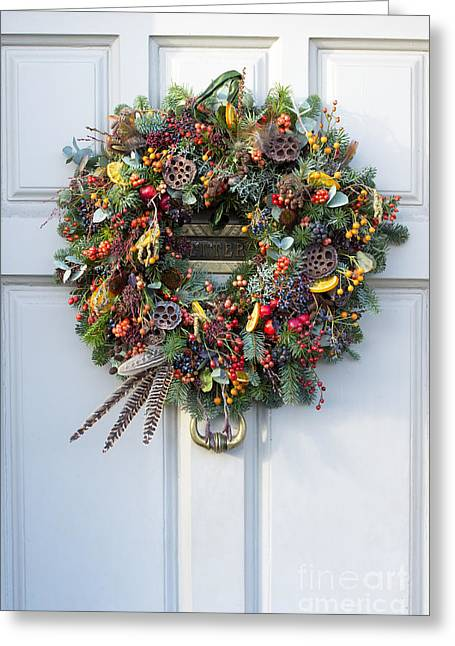 Natural Christmas Wreath Greeting Card by Tim Gainey
