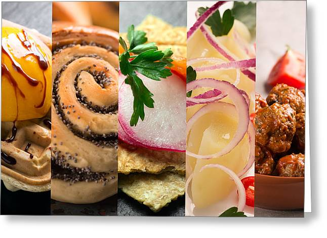 Natural Colorful Food. Photo Collage 3 Greeting Card by Vadim Goodwill