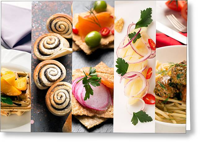 Natural Delicious Food. Photo Collage Greeting Card by Vadim Goodwill