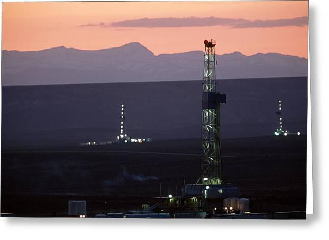 Image Setting Greeting Cards - Natural Gas Drilling Rigs Dot Greeting Card by Joel Sartore