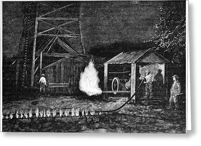 Gas Tower Greeting Cards - Natural Gas Well, 19th Century Greeting Card by