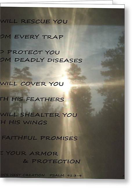 Natural Sun Cross Psalm Nlt Greeting Card by Robin Coaker