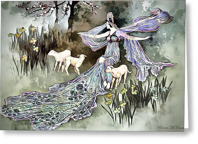 Greeting Card featuring the digital art Nature Goddess by Pennie McCracken