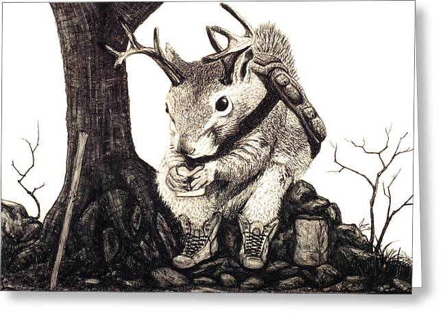 Greeting Card featuring the drawing Nature Hike by Jaison Cianelli
