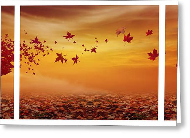 Red Leaves Digital Greeting Cards - Natures Art Greeting Card by Lourry Legarde