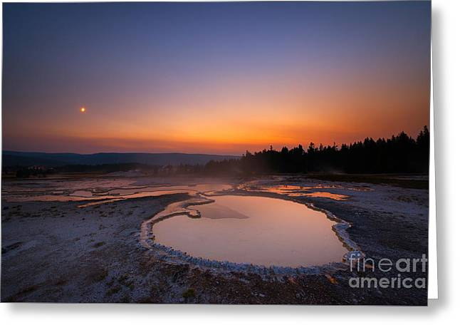 Natures Jacuzzi Yellowstone Hot Spring Sunset Greeting Card