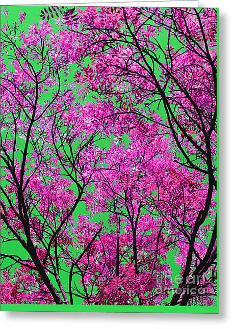 Natures Magic - Pink And Green Greeting Card