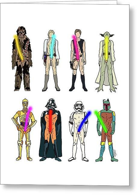 Naughty Lightsabers Greeting Card by Notsniw Art