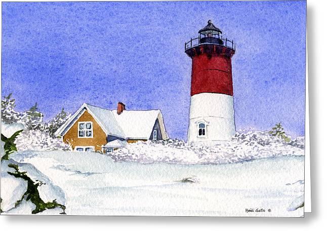 Nauset Light Winter Greeting Card