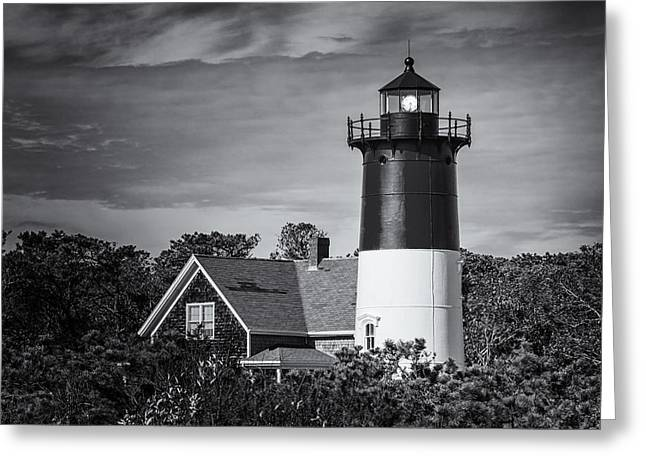Nauset Lighthouse Bw Greeting Card by Joan Carroll