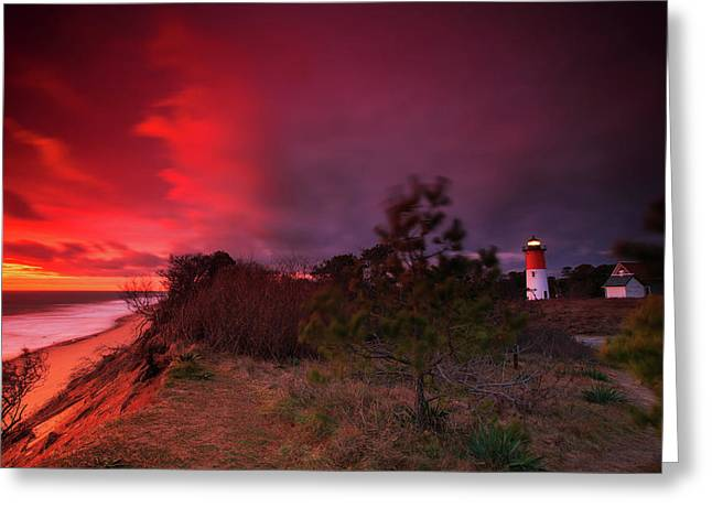 Nauset Lighthouse Sunrise Greeting Card by Dapixara Art