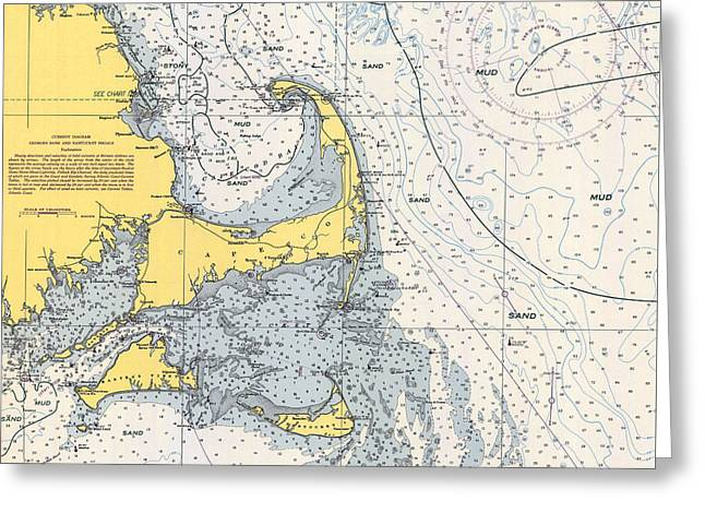 Vintage Cape Cod Nautical Chart 1945h Greeting Card