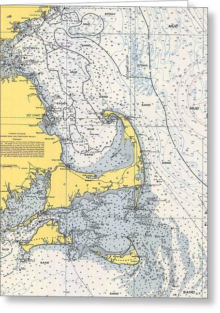 Nautical Chart Of Cape Cod 1945v Greeting Card