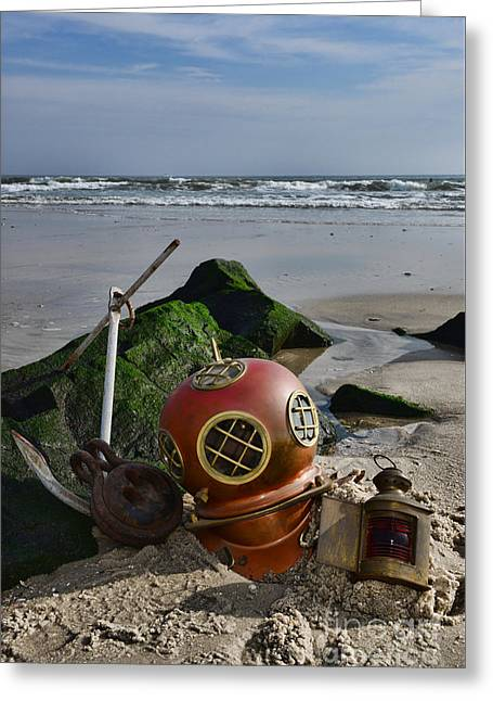 Nautical Collection Found On The Beach Greeting Card by Paul Ward