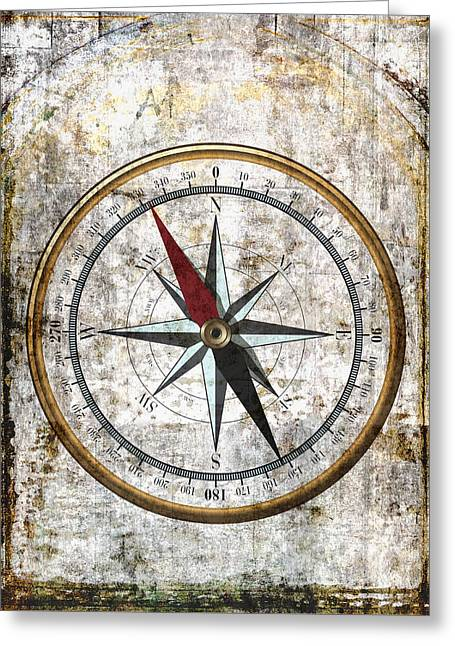 Nautical Compass Rose Greeting Card by Daniel Hagerman
