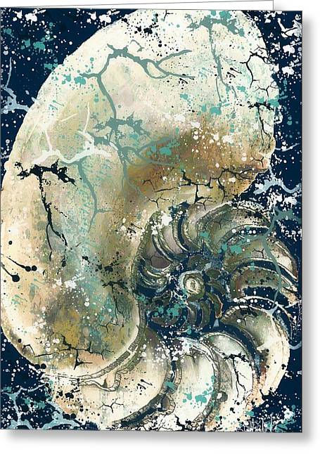 Nautical Nautilus Shell 1 Greeting Card by Barbara Chichester