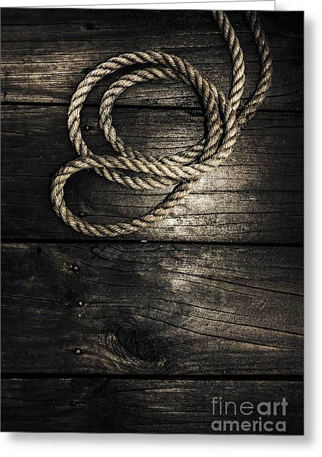 Nautical Rope On Boat Deck. Maritime Knots Greeting Card by Jorgo Photography - Wall Art Gallery