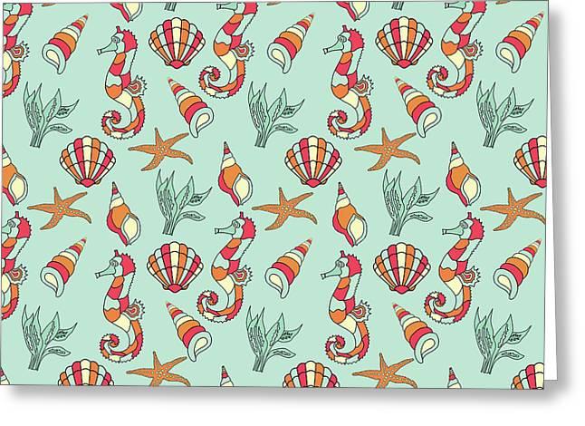 Nautical Seahorse Seashell And Seaweed Pattern Greeting Card