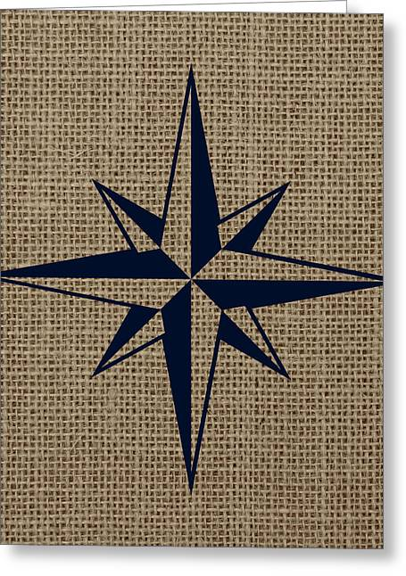 Nautical Star Burlap Greeting Card by Brandi Fitzgerald
