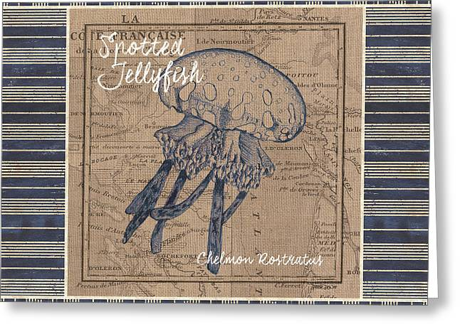 Nautical Stripes Jellyfish Greeting Card by Debbie DeWitt