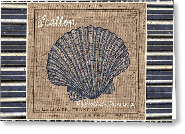 Nautical Stripes Scallop Greeting Card by Debbie DeWitt