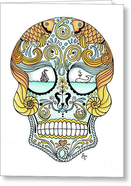 Nautical Sugar Skull Greeting Card